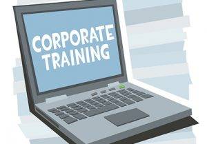 """Laptop with """"Corporate Training"""" displayed on the screen"""